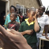 Testing eye sight at an eye camp in rural Zambia.