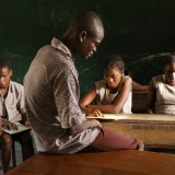 A class of visually impaired school children in Uganda.