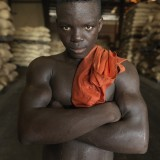 A cocoa factory worker in the capital Yamoussoukro.