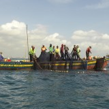 Tanzanian fishermen with empty nets.