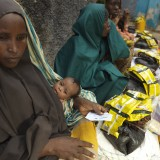 Noorto Mo-Allim, 30, at a food distribution camp in Baidoa.